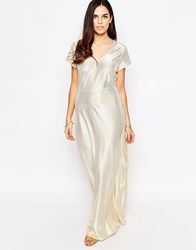 Liquorish Metallic Shimmer Maxi Dress Gold