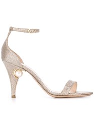 Nicholas Kirkwood 'Penelope' Pearl Sandals Women Leather Metallic Grey Fibre 36