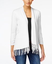 Styleandco. Style And Co. Fringe Open Front Cardigan Only At Macy's Bright White