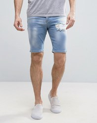 Asos Denim Shorts In Super Skinny Light Blue With Bleach Spots And Rip Blue