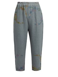 By Walid Morton Floral Embroidered Linen Cropped Trousers Grey
