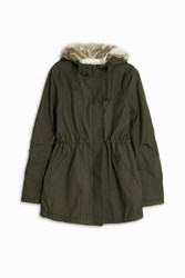 Paul And Joe Sister Parker Faux Fur Hooded Jacket Khaki