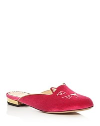 Charlotte Olympia Kitty Embroidered Velvet Mules Dark Pink