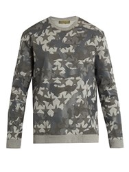 Valentino Camustars Print Cotton Blend Jersey Sweatshirt Grey