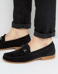 Asos Snaffle Loafer In Black Suede With Weave Detail Black