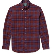 Gitman Brothers Vintage Slim Fit Button Down Collar Checked Cotton Flannel Shirt Claret