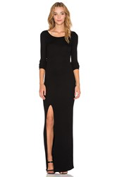 Bobi Cozy Spandex High Slit Maxi Dress Black