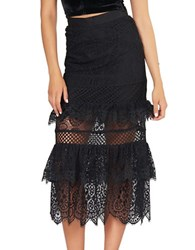Kendall Kylie Tiered Lace Skirt Black