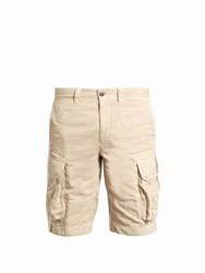 Incotex Cargo Pocket Cotton And Linen Blend Shorts Beige
