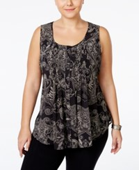 American Rag Plus Size Sleeveless Printed Pintucked Blouse Only At Macy's Classic Black Combo