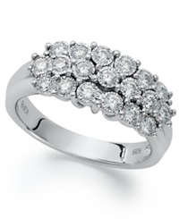 Macy's Trumiracle Three Row Round Cut Diamond Ring In Sterling Silver 1 2 Ct. T.W.