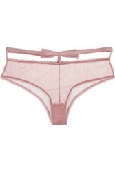 Fleur Du Mal Playboy Bow Embellished Stretch Tulle Briefs Antique Rose