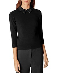 Karen Millen Embellished Collar Sweater Black