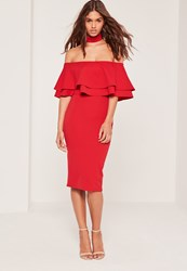 Missguided 2 In 1 Choker Double Frill Midi Dress Red