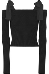 Msgm Poplin Trimmed Off The Shoulder Ribbed Knit Sweater Black