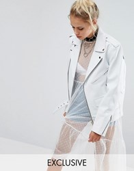 Milk It Vintage Oversized Leather Biker Jacket White