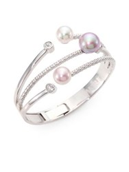 Majorica 10Mm 12Mm Multicolor Round Pearl Bangle Bracelet Silver Multi