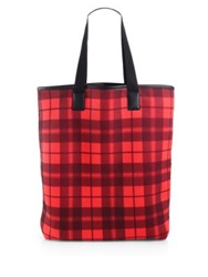 Marc By Marc Jacobs Plaid Shopping Tote Corvette Red