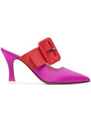 Attico Pink Chloe 85 Buckle Strap Mules Pink And Purple