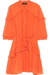 Saloni Tilly Ruffled Georgette Mini Dress Bright Orange