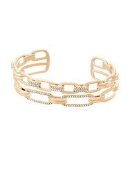Michael Kors Brilliance Crystal And Stainless Steel Iconic Links Open Cuff Bracelet Gold