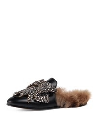 Gucci Princetown Bow Fur Lined Mule Black