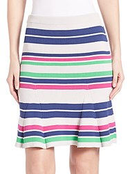 Tanya Taylor Sasha Striped Rib Knit Skirt Putty Multicolor