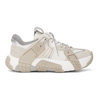 Valentino White And Off White Garavani Wod Panelled Low Top Sneakers