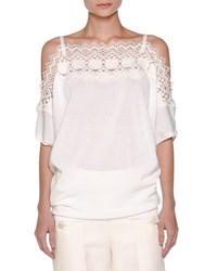 Agnona Off Shoulder Knit Lace Top White