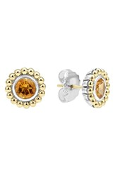 Women's Lagos Stone Stud Earrings Citrine