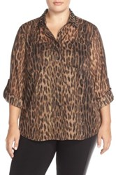 Michael Michael Kors Studded Collar Shirt With Metallic Detail Plus Size Brown