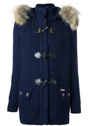 Bark Hooded Duffle Coat Blue