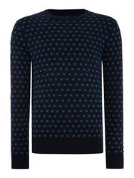 Peter Werth Kubrick Polka Dot Crew Neck Pull Over Jumpers Navy