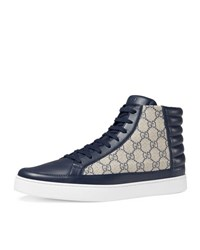 Gucci Common Canvas And Leather High Top Sneaker Blue Beige