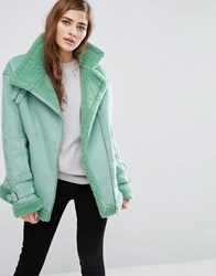 Asos Aviator Jacket In Faux Suede Mint Green