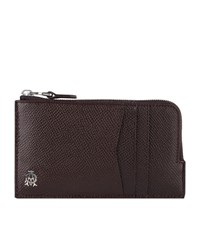 Dunhill Cadogan Leather Zipped Card Holder Unisex Burgundy