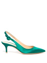 Gianvito Rossi Anna Slingback Kitten Heel Satin Pumps Green