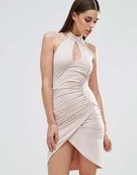 Sistaglam Cross Front Pencil Dress With Keyhole Neck White