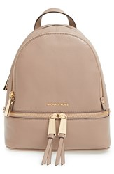 Michael Michael Kors 'Extra Small Rhea Zip' Leather Backpack Brown Dark Dune