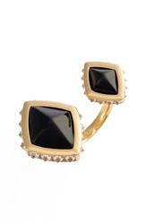 Rachel Zoe 'Prestley' Pyramid Ring Gold Black