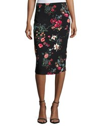 Rebecca Taylor Meadow Floral Print Pencil Skirt Black Pattern