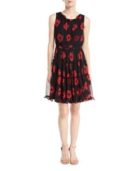Kate Spade Poppy Chiffon Sleeveless Ruffle Trim Dress Black