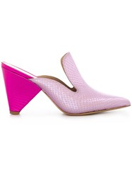 Aldo Castagna Snakeskin Effect Mules Pink And Purple