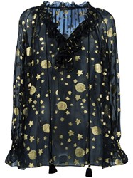 Roberto Cavalli Gold Tone Print Sheer Blouse Black