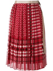 Sacai Scarf Print Pleated Skirt Red