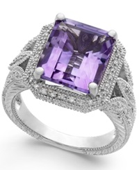 Macy's Pink Amethyst 4 1 10 Ct. T.W. And Diamond 1 10 Ct. T.W. Ring In Sterling Silver