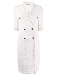 D.Exterior Tweed Double Breasted Dress Neutrals