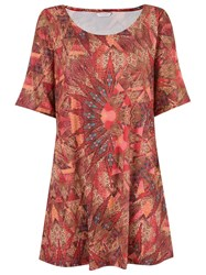 Lygia And Nanny Round Neck Printed Dress Red