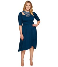 Kiyonna Chloe Crochet Dress Playful Peacock Women's Dress Blue