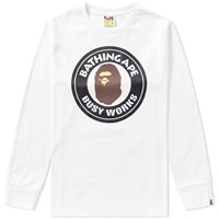 A Bathing Ape Long Sleeve Busy Works Tee White
